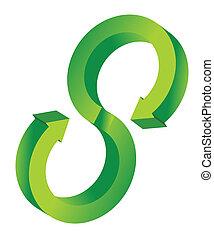 3d, groene, richtingwijzer, illustratie, cyclus