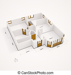 3D groundplan with walls flat perspective - 3D groundplan...