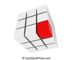 3D group of cubes with red one isolated on white.