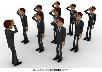 3d group of military men saluting officer concept