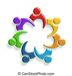 3D Group of seven people in meeting - Group of people in...