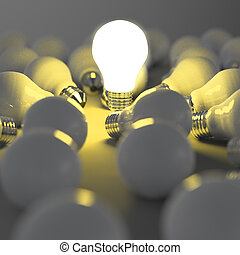 3d growing light bulb standing out from the unlit ...