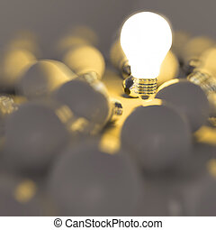 3d growing light bulb standing out from the unlit incandescent bulbs as leadership concept