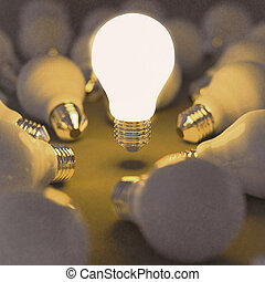 3d growing light bulb standing out from the unlit incandescent bulbs as vintage style concept