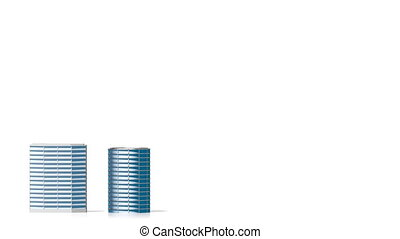 3D growing office buildings/ skyscrapers.