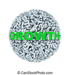 3d growth - alphabet letter character sphere ball