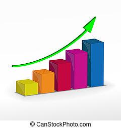 3D Growth bar graph. Vector business concept.