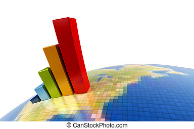 3d growth chart - 3d rendering of the growth chart on...