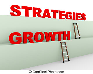 3d growth strategies - 3d illustration of ladder and concept...