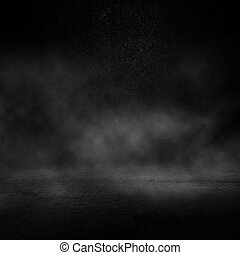 3D grunge dark interior with smoky atmosphere - 3D render of...
