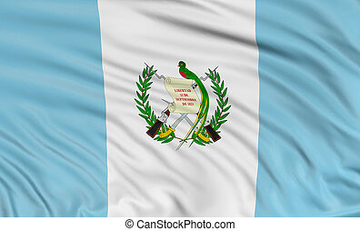 3D Guatemala flag with fabric surface texture. White...