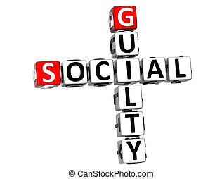 3D Guilty Social Crossword on white background