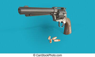3d gun illustration on blue background