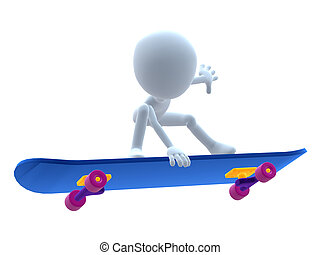 3D Guy On A Skateboard