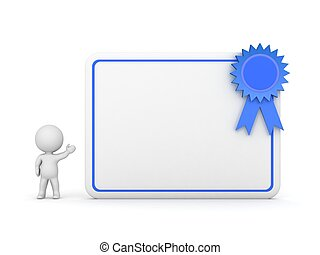 3D Guy Showing Diploma with Ribbon