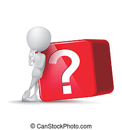 3d guy thinking in front of big question mark cube