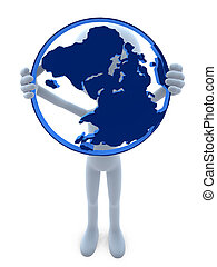 3D Guy With A Globe