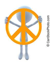 3D Guy With A Peace Sign - 3D guy with a peace sign on a...