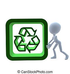 3D Guy With A Recycle Sign - 3D guy with a recycle sign on a...