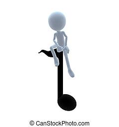 3D Guy With Music Notes - 3D guy with music notes on a white...