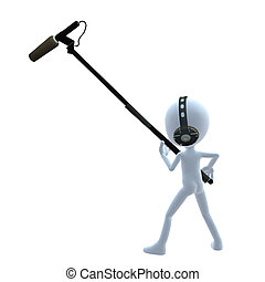 3D Guy Wtih A Microphone - 3D guy with a microphone on a...