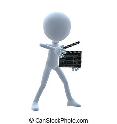 3D Guy Wtih A Movie Clapper