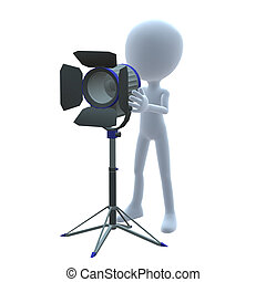 3D Guy Wtih Movie Lighting - 3D guy with movie lighting on a...