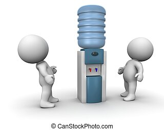 3D Guys Looking at Big Water Cooler - Two 3d guys looking at...