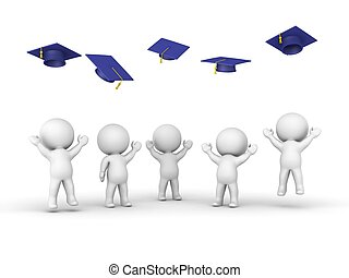 3D guys throwing graduation hats