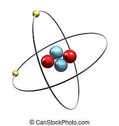 3d, hélio, átomo