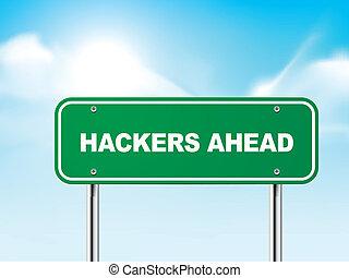 3d hackers ahead road sign