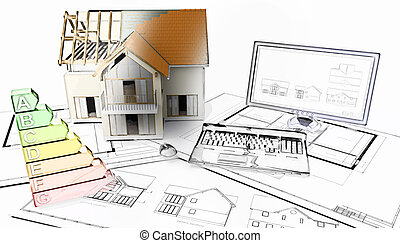3D half built house on plans with half in sketch phase