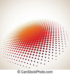 3d, halftone, círculo, plano de fondo, con, espacio de copia