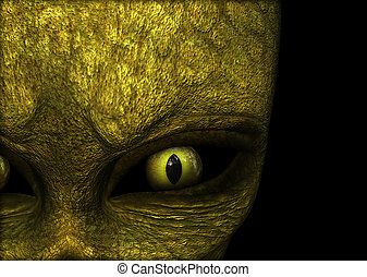 3D Halloween background with close up of green alien