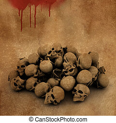 3D Halloween background with pile of skulls on bloody grunge background