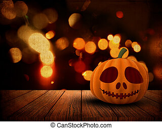 3D Halloween background with pumpkin on wooden table against a grunge bokeh lights background