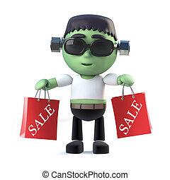 3d Halloween frankenstein monster goes to the sales