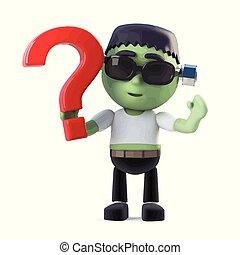 3d Halloween frankenstein monster has a question - 3d render...