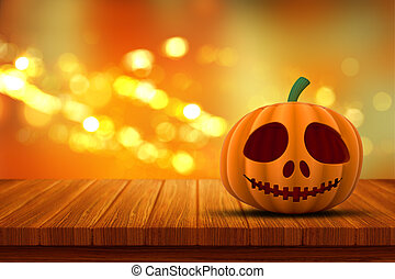 3D Halloween pumpkin on a wooden table with bokeh lights background