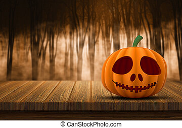 3D Halloween pumpkin on a wooden table with defocussed foggy forest in the background