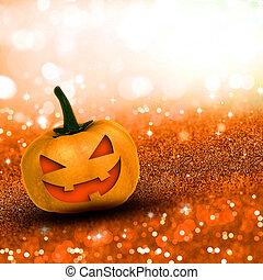 3D Halloween pumpkin on glittery background