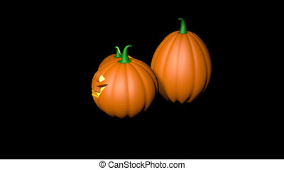 3d Halloween pumpkins - a survey around. A looped video with...