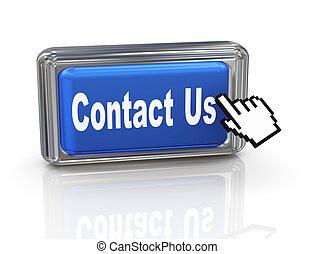 3d hand cursor button - contact us - 3d render of hand...