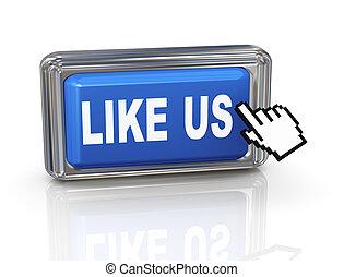 3d hand cursor button - like us