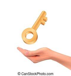 3d hand holding a golden key