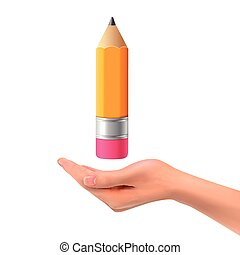 3d hand holding a lovely pencil