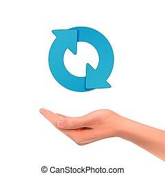 3d hand holding arrow sign