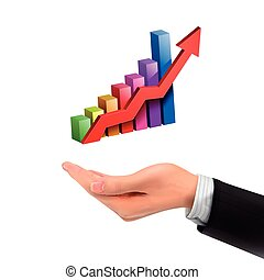 3d hand holding bar graph with rising arrow