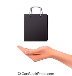 3d hand holding black bag