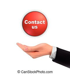 3d hand holding contact us icon